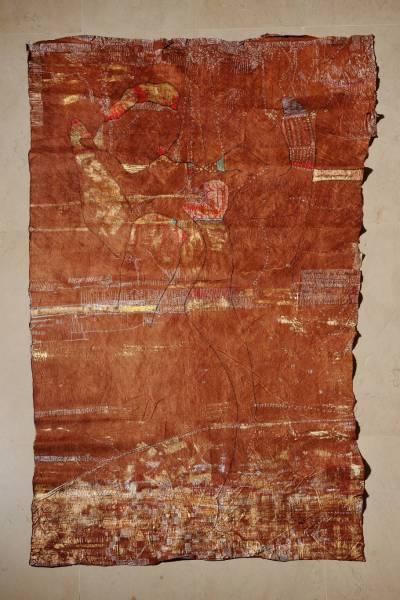 La vente de cette oeuvre sur textile de Huguette Caland confirme l'intérêt du marché pour les femmes artistes