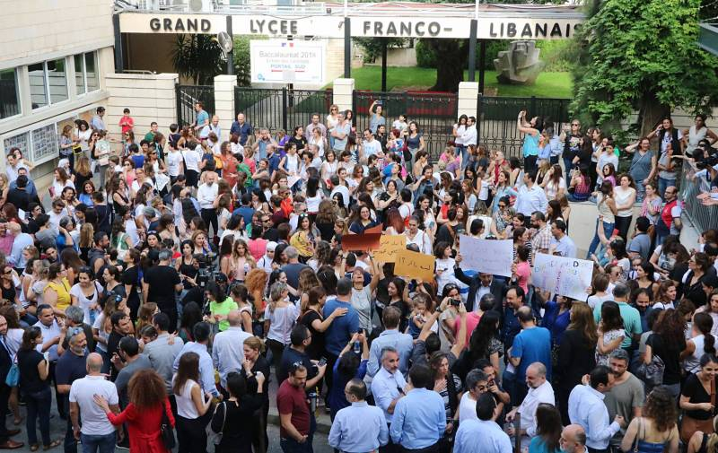 Sit-in au Grand Lycée franco-libanais de Beyrouth