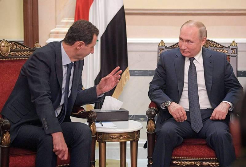 Le président russe, Vladimir Poutine, en réunion  avec le président syrien, Bachar el-Assad, à Damas le 7 janvier dernier.