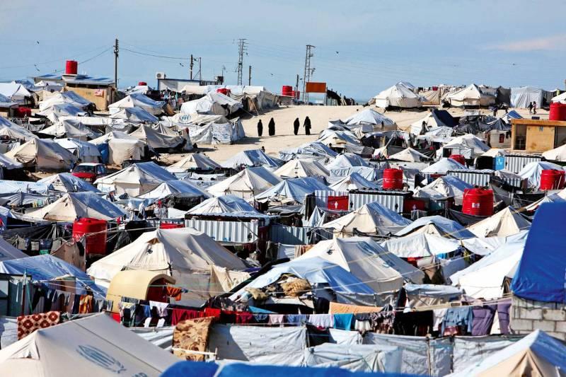 Vue générale d'un camp de l'Agence des Nations unies pour les réfugiés à al-Hol dans le gouvernorat de Hassaké en Syrie.