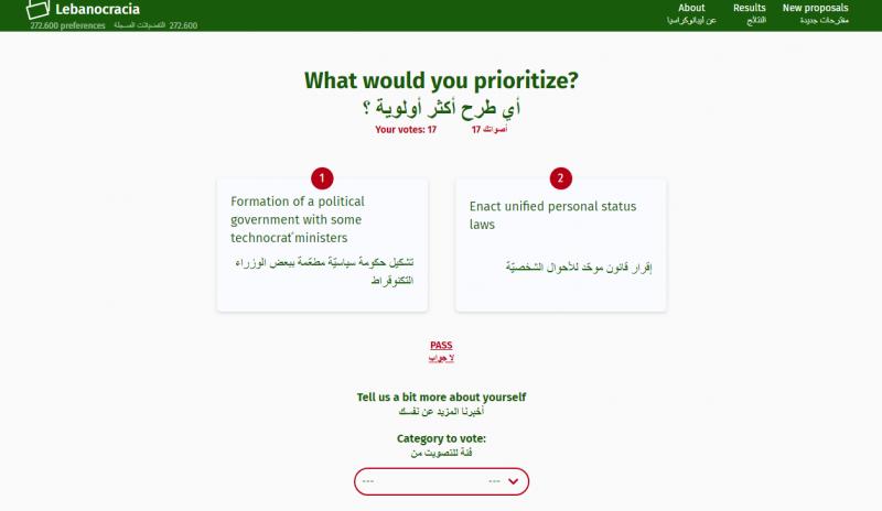 Capture d'écran du site lebanocracia.org