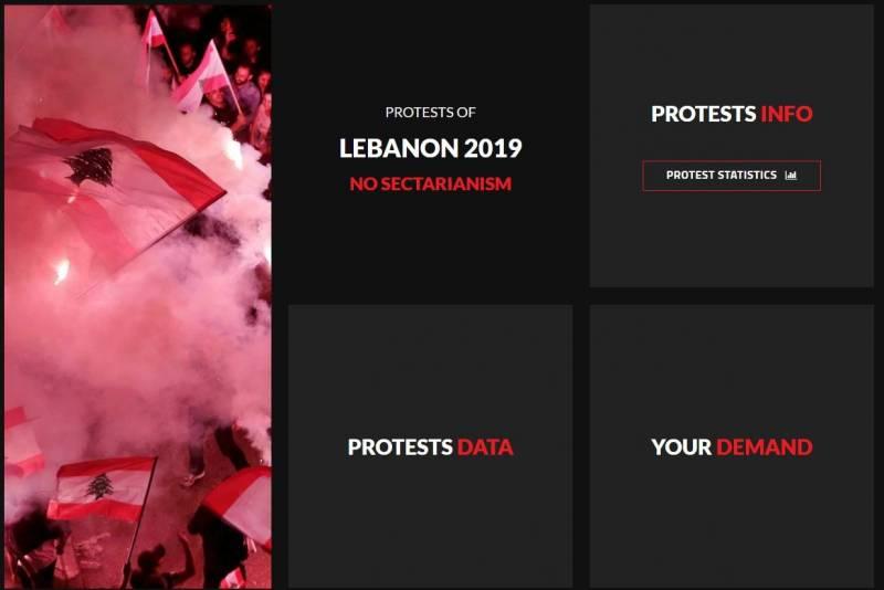 Une capture d'écran du site lebanonprotests.com