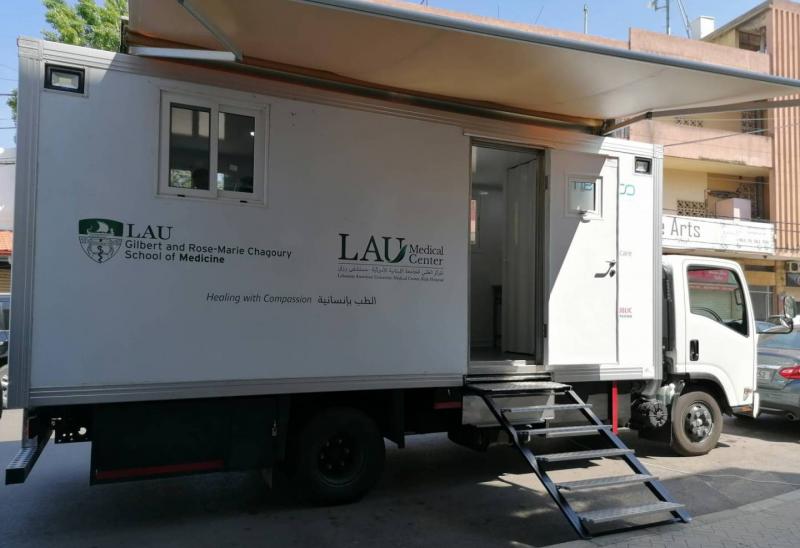 La clinique mobile du LAUMC-RH Garé à Baabdate