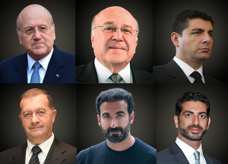 De gauche à droite: Najib et Taha Mikati; Bahaa Hariri; Robert Mouawad; Ayman et Fahd Hariri.