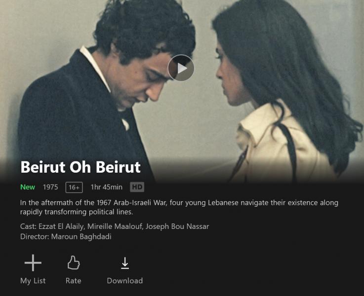 Beirut Oh Beirut de Maroun Baghdadi arrive sur Netflix avec 18 autres films libanais.