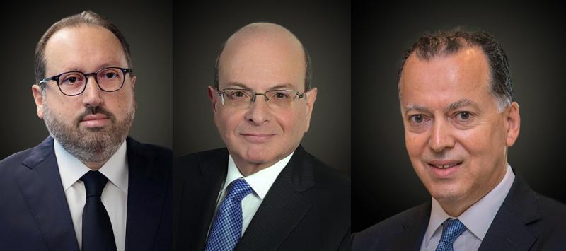 De gauche à droite : Alain Bejjani (PDG du groupe Majid al-Futtaim), Nemeh Sabbagh (PDG de Arab Bank) et Naaman Atallah (PDG de Nakheel Properties).