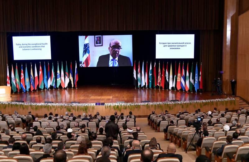Intervention par vidéo du ministre sortant des Affaires étrangères, Charbel Wehbé à la conférence organisée par Moscou sur le retour des réfugiés syriens qui s'est tenue à Damas le 11 novembre.