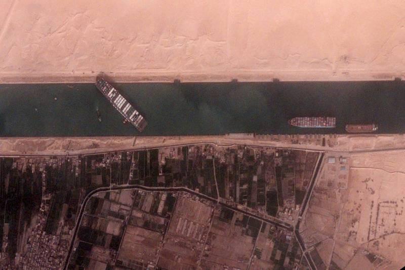 Une image du satellite BlackSky montrant le blocage du Canal de Suez par le navire Ever-Given.