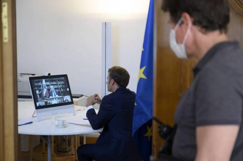 Le président francais Emmanuel Macron lors de la conférence internationale de soutien au Liban organisée par visioconférence